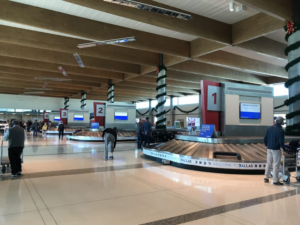 baggage claim area in terminal Dallas Love Field airport DAL