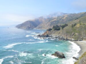 California Coastline in Big Sur blue waters and waves