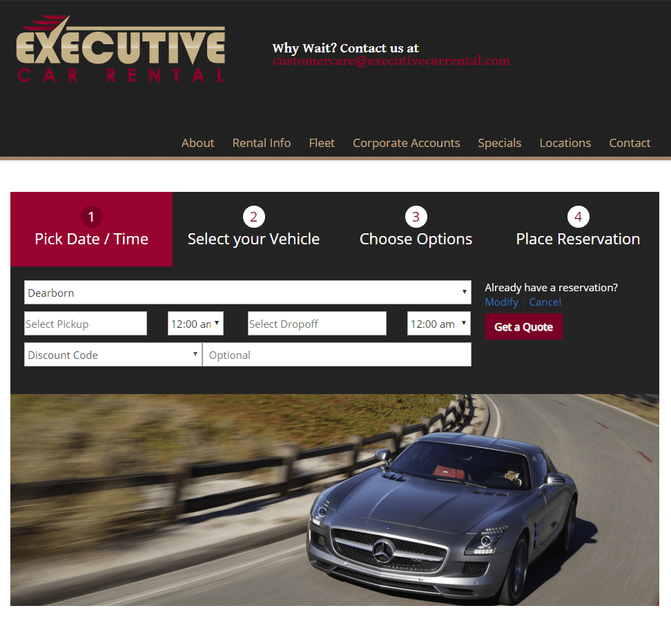 Home page of Executive Car Rental website