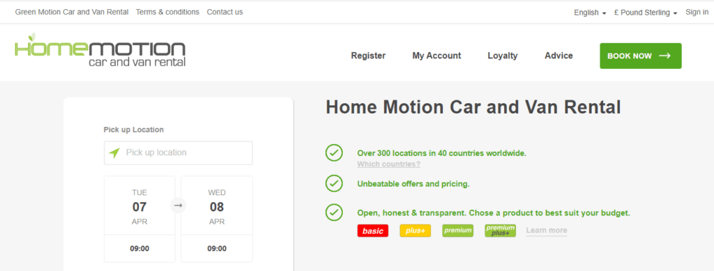 Landing Page on website Home Motion Car and Van Rental