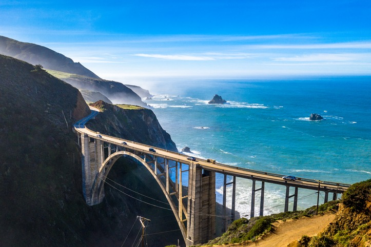 Big Sur Bridge California Ocean Road Costline CA Above Drone Shot