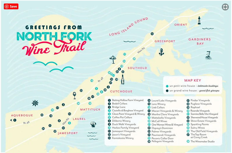 Map of the North Fork Wine Trail in Long Island
