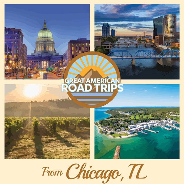 Four Roadtrip destinations from chicago